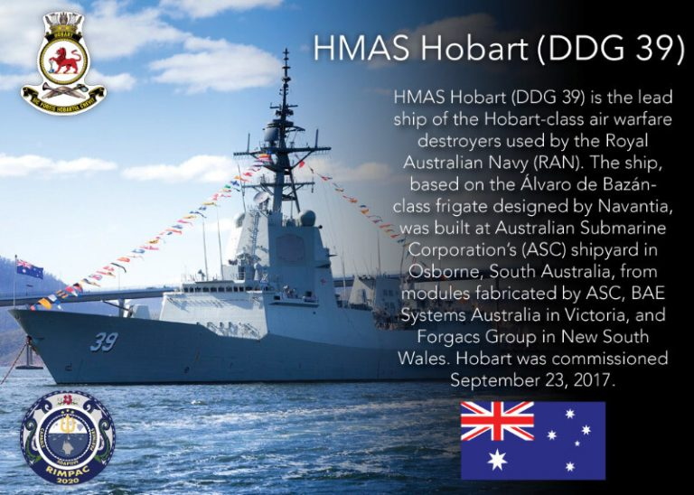 SAN DIEGO (Aug. 26, 2020) A photo illustration highlighting the participation of the Royal Australian Navy ship HMAS Hobart (DDG 39) in Exercise Rim of the Pacific 2020 (RIMPAC). Ten nations, 22 ships, one submarine, and more than 5,300 personnel are participating in RIMPAC from August 17 to 31 at sea around the Hawaiian Islands. RIMPAC is a biennial exercise designed to foster and sustain cooperative relationships, critical to ensuring the safety of sea lanes and security in support of a free and open Indo-Pacific region. The exercise is a unique training platform designed to enhance interoperability and strategic maritime partnerships. RIMPAC 2020 is the 27th exercise in the series that began in 1971. (U.S. Navy graphic illustration by Mass Communication Specialist 2nd Class Natalie M. Byers)